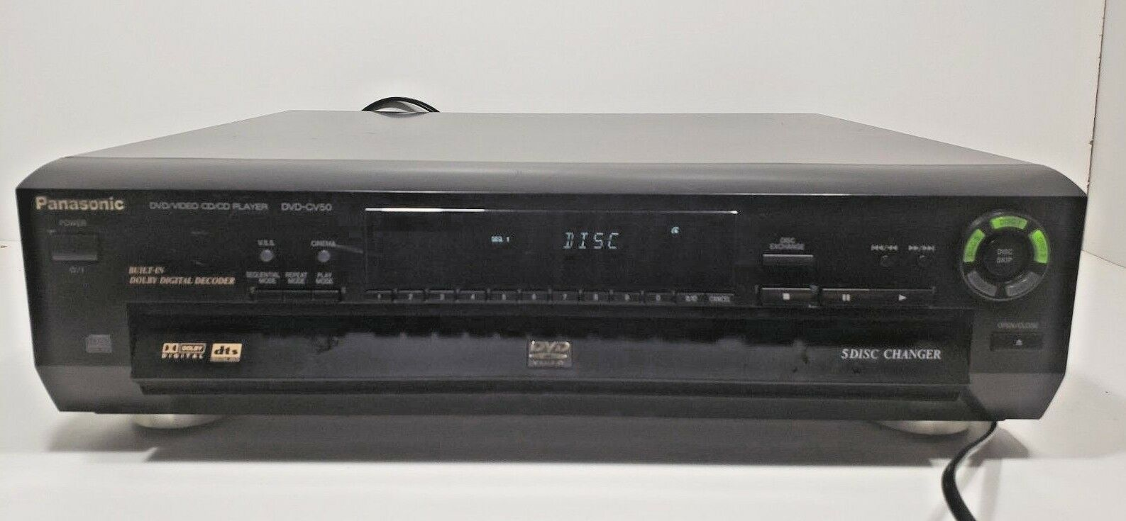 Panasonic DVD-CV50 DVD Video  CD/CD Player 5 Disc Changer..Tested W/Remote