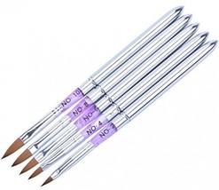 Ycyan 5Pcs Acrylic Nail Art Brush Pen Set (Size 2,4,6,8,10) Metal Handle... - $23.76
