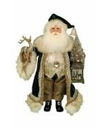 Karen Didion Santa Clause lighted woodland Emerald Sant 17 inch cc16-183 - $88.00