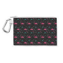 Pink Flamingos Canvas Zip Pouch - $15.99+