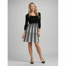 Roz & Ali 1X Dressbarn Black White Chain Print Intarsia Knit Sweater Dre... - $34.64