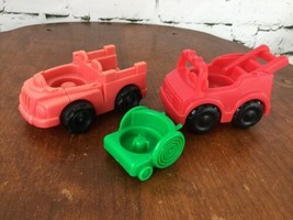 Vintage Fisher Price Little People Chunky Fire Trucks & Wheelchair - $11.88