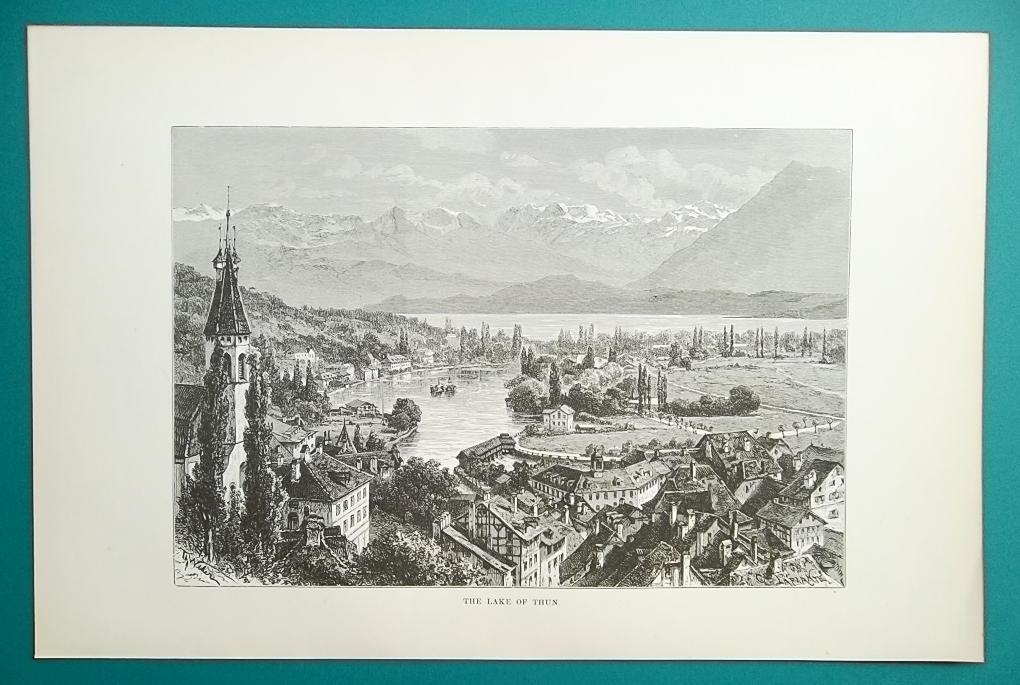 SWITZERLAND Alps Thun Lake & City - 1890s Antique Print Engraving