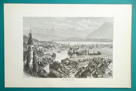 SWITZERLAND Alps Thun Lake & City - 1890s Antique Print Engraving - $14.40