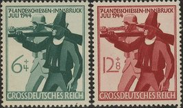 1944 WWII Third Reich Militia Set of 2 German Stamps Catalog B278-79 MNH