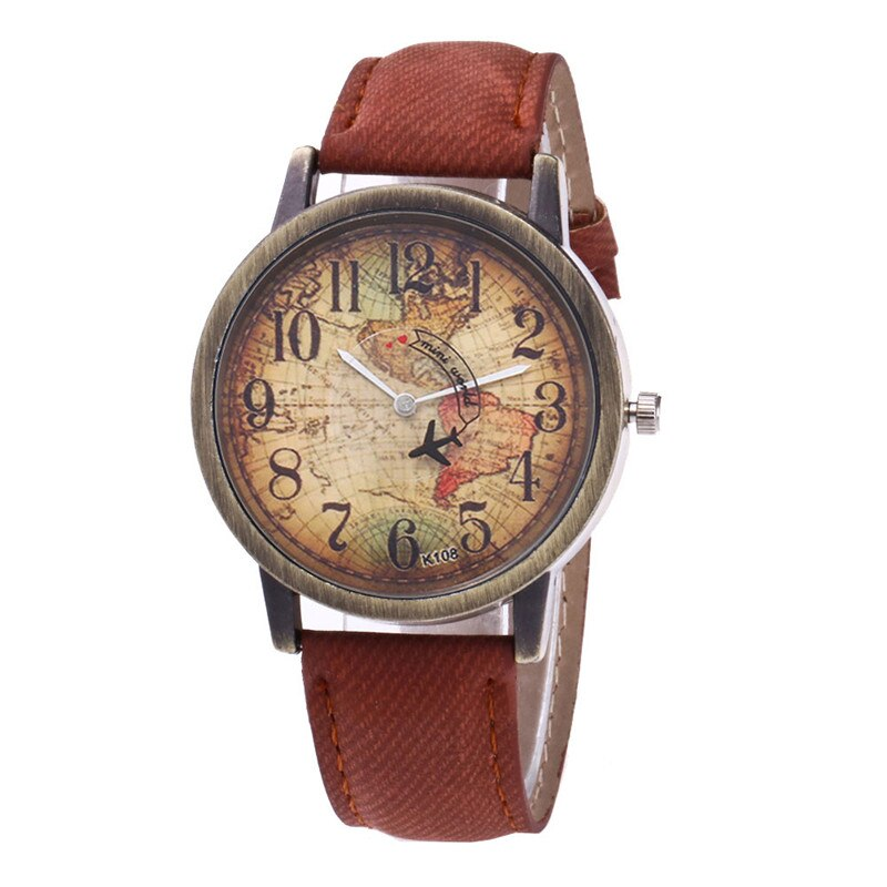 Primary image for Ladies Watches Fashion Vintage World Map Printing Women Watches TkHirmoly Coffee