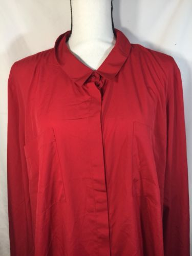 Primary image for Lane Bryant Red Button Up Shirt Women Cotton Casual Style Cuff Ends  Size 26/28