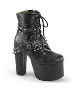 "DEMONIA Torment-700 5 1/2"" Heel Ankle-High Platform Boot - Black Vegan Leather - $99.95"