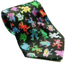 Colorful Tree Frog Animal Dart Frogs Men's Novelty Necktie Black - $12.75