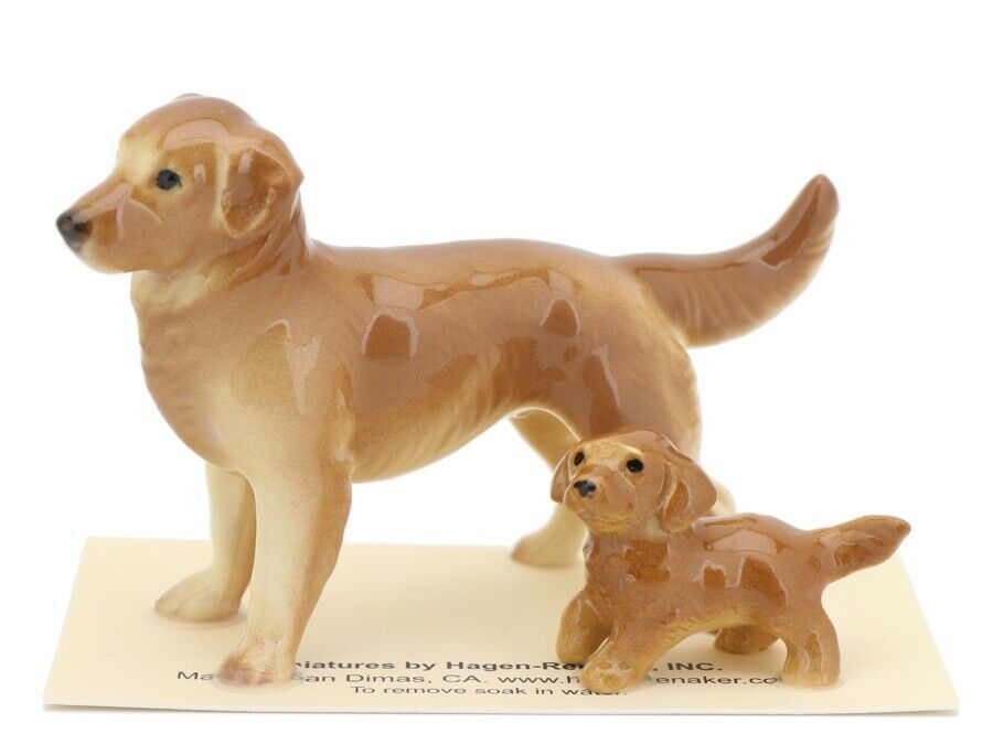 Hagen Renaker Miniature Dog Golden Retriever and Puppy Ceramic Figurine