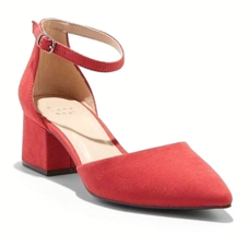 A New Day Women's Natalia Red Microsuede Pointed Toe Block Heeled Pumps