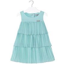 Mayoral Little Girls 2T-9 Aqua Pleated Triple Tier Social Dress