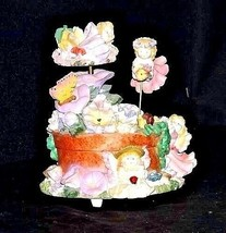 Ceramic Fairy Music Box 5 Fairies on a Floral Merry-Go-Round AA18-1139 Vintage image 1