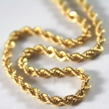 18K YELLOW GOLD CHAIN NECKLACE, BRAID ROPE LINK 19.69 INCHES, MADE IN ITALY image 2