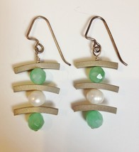 Sterling Silver Onyx Pearl Earrings Asian Handmade Green White Unique Pi... - $84.00