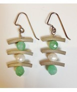 Sterling Silver Onyx Pearl Earrings Asian Handmade Green White Unique Pi... - €71,36 EUR