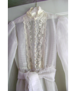 Vintage White Nylon Dress with Embroidered Collar and Pearl Buttons - €24,68 EUR