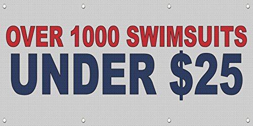 Over 1000 Swimsuits Under $25 Red Blue MESH Windproof Fence Banner Sign 4 Ft x 8