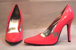 ELLIE Hot Pink With Silver Lighting Bolt High Heel Shoes Women's Size 9 - $24.75