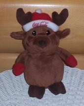 "Coca Cola Coke Sweet 7"" Plush Brown Reindeer in Red Cap & Mittens - $6.88"