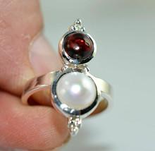 Perla de agua dulce, anillo de granate, joyería hecha a mano de plata de... - $26.06
