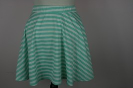 Francescas Teal and White Striped Mini Skirt Sz Medium - $9.29
