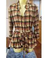 brown black abstract blazer top blouse womens size large 18 long sleeves... - $6.99