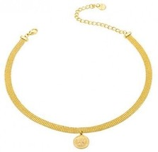 Coin Pendant Choker Metal Layered Bead With Insignia Coin 24K Gold Plated For - $42.94