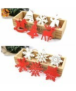 6pcs Wooden Snowflakes Christmas Pendants Ornaments Xmas Tree Party Deco... - $10.41