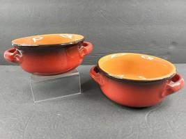 "2 De Silva Small 4 3/4"" Red Orange Soup Bowls Set Cook Terracotta Potter... - $29.57"