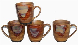 4 Sango SPLASH Brown Mugs Streaked Matte Finish w/ Shiny Splash Drip EXC... - $22.99