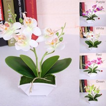 Artificial Flower + Vas Butterfly ORCHID Flower Real Touch With Leaves  - $7.99
