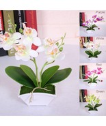Artificial Flower + Vas Butterfly ORCHID Flower Real Touch With Leaves  - £6.16 GBP