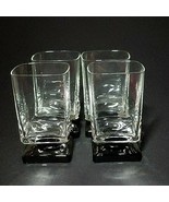 4 (Four) VINTAGE DI SARONNO CLEAR & BLACK Square Foot Cocktail Glasses-N... - $27.54