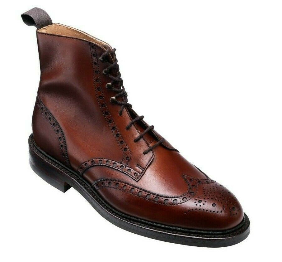 Maroon Red Color Full Brogue Toe Wing Tip Vintage Leather Lace Up Ankle Boots