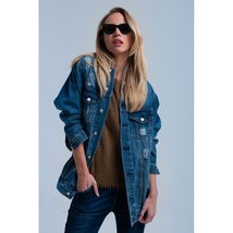 Jeans jacket with worn effect - $91.00