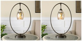 "PAIR 25"" MOTTLED MERCURY GLASS SHADE TABLE LAMP LINEN OXIDIZED BRONZE ME... - $435.60"