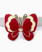 Vintage red and cream enamel butterfly brooch pin - $9.00
