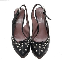 Auth Miu Miu Black Leather Studded Pointed Toe Platform Slingback Sandal... - $140.25