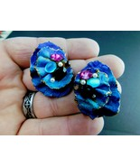 Vintage Earrings Funky Chunky Post Mid Century Blue/Purple Rhinestone   ... - $19.59