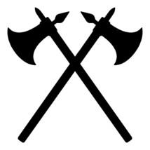 CROSSED BATTLE AXES Vinyl Decal Sticker -V2- Battle-axe Medieval Combat ... - $4.94+