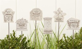 Set of 6 - Herb Garden Marker Picks - Polystone & Iron Material - Granite Finish