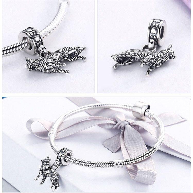 Women Friend Loyal Sheepdog Pendant Charm Fit Bracelet Sterling Silver Jewelry
