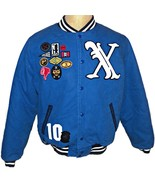 10 Deep Streetwear Blue Varsity X Letterman Jacket Patches Extra Large XL - $144.49