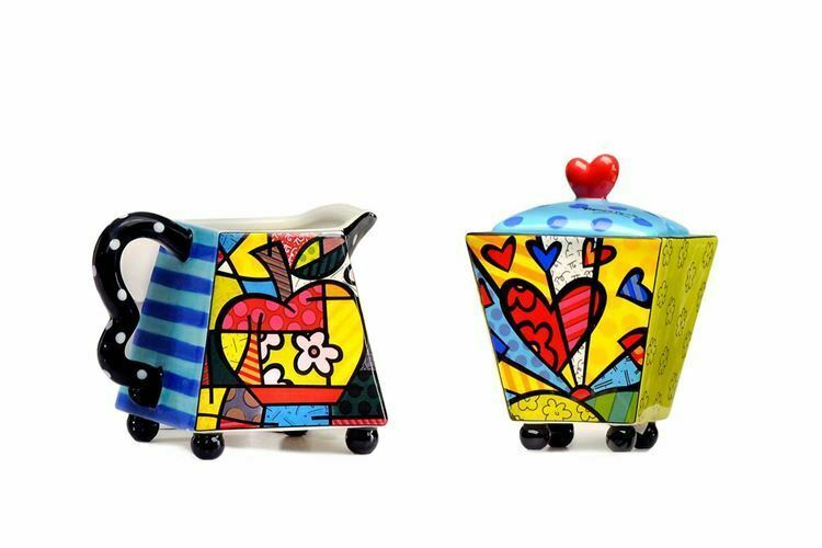 Romero Britto Cream & Sugar A New Day -7 oz creamer & Sugar Bowl w Lid  #330306
