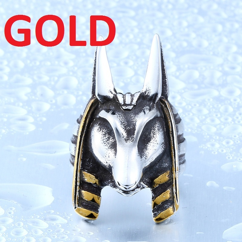 Stainless Steel Old Egypt God Style Jackal Head Ring Unique Titanium Steel Ring for sale  USA