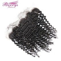 [Berrys Fashion] Lace Frontal Brazilian Virgin Hair Kinky curly 13x4 Human Hair  - $171.60