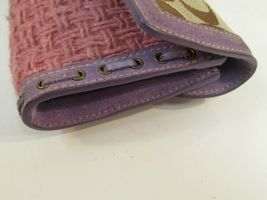 Coach Wristlet Tweed Purple Suede Wallet Buckle Handbag Clutch Monogram C image 10