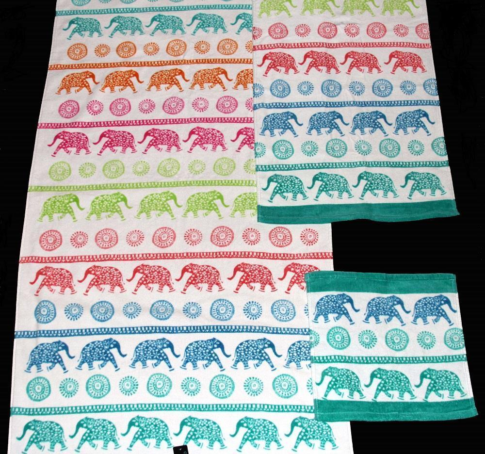 2 Cynthia Rowley Colorful ROWS OF SPOTTED ELEPHANTS Velour Bath Towels NWT - $42.99