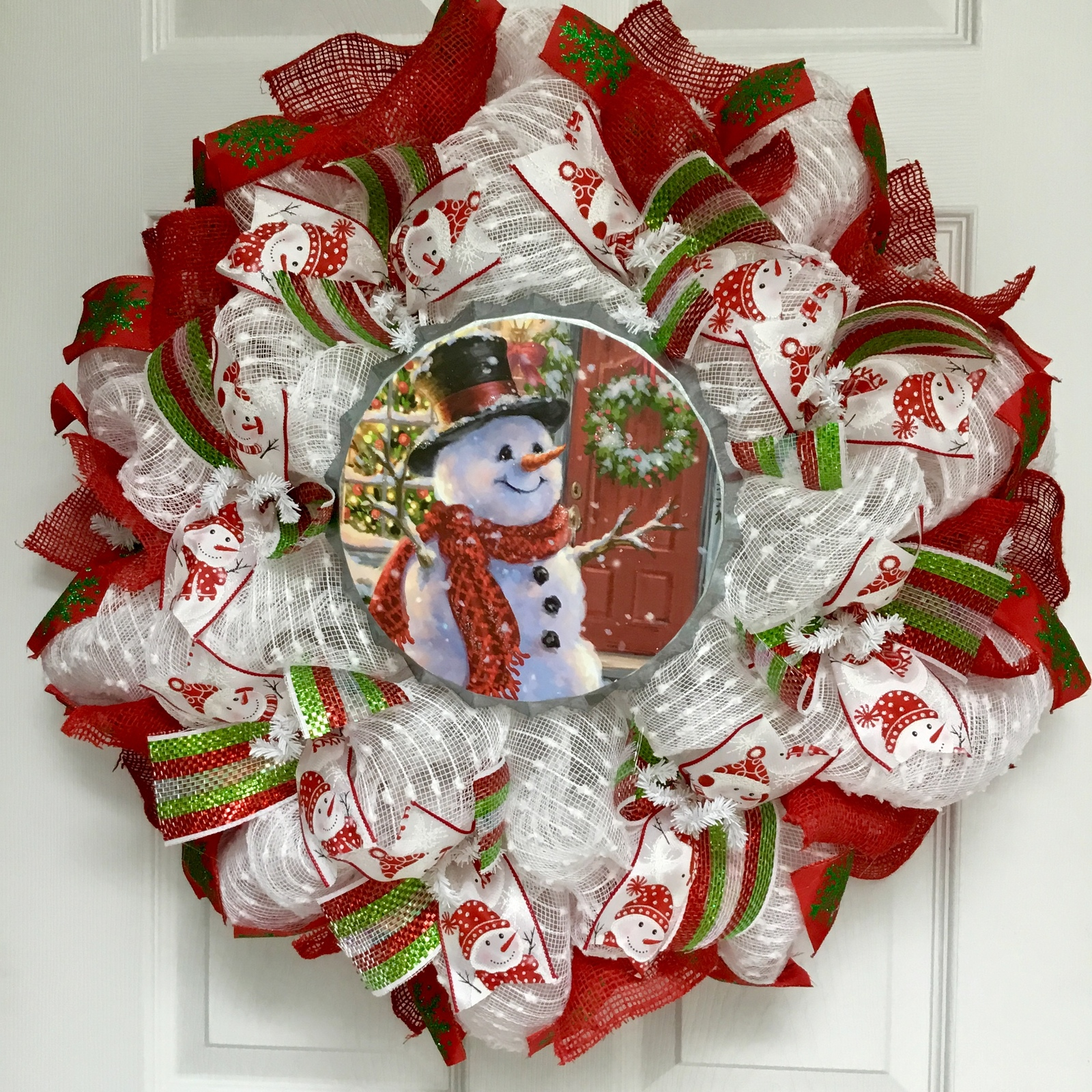 Primary image for Home for the Holidays Bottle Cap Tin Snowman Deco Mesh Christmas Wreath